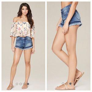 NWT bebe cut off frayed blue jean shorts